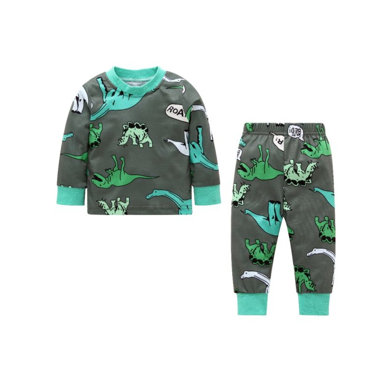 2-Piece Baby Boy Cartoon Dinosaur Casual Homewear Set Long-sleeved T-shirt + Pants