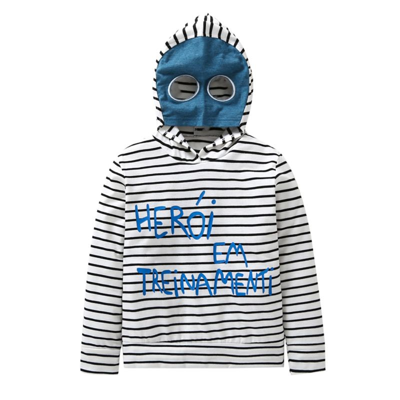 Cool Baby Little Boy Striped Face Cover Hoodie for Spring