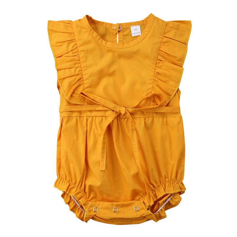 Summer Ruffle Orange Baby Girl Bubble Romper Onesie
