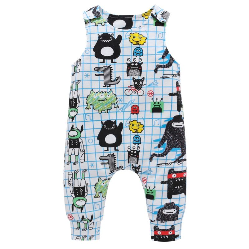 Cartoon Sleeveless Baby Overalls Jumpsuit