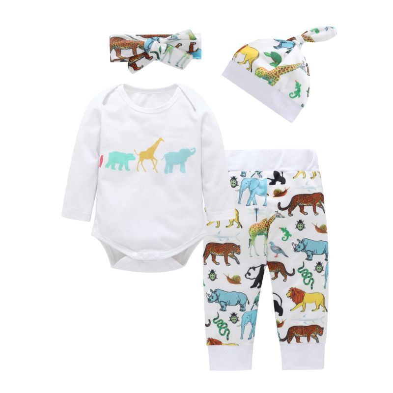 4-piece Spring Infant Clothes Outfits Set Cartoon Animal Bodysuit + Pants +Headband +Hat
