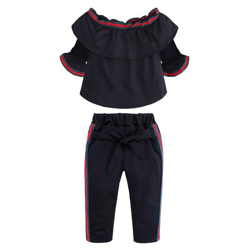 2-Piece Baby Little Girl Frilled Off-shoulder Top + Striped Pants Set