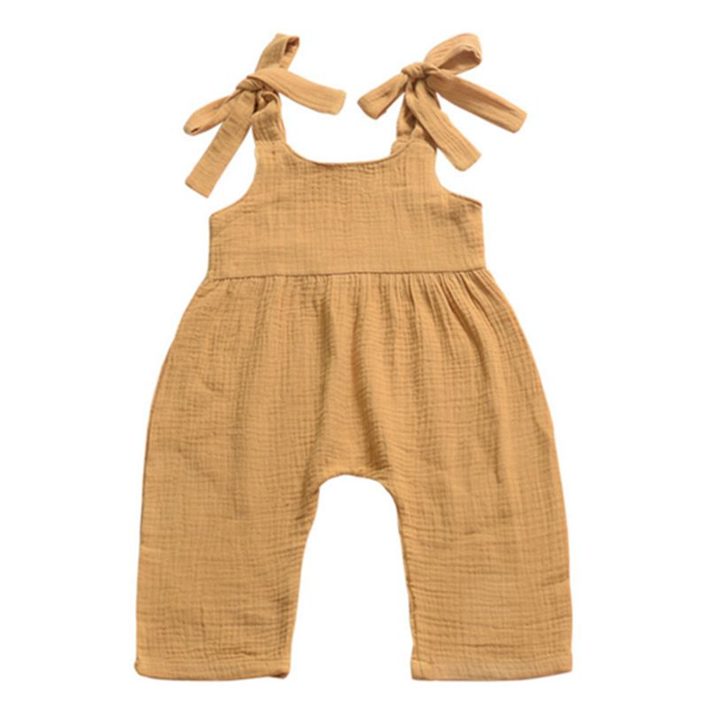 Baby Girl  Solid Color Suspender Trousers Infant Overalls Jumpsuit