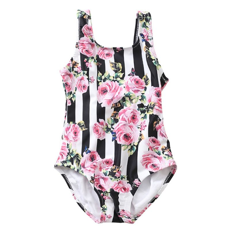 Stripe Frilled Flower Baby Little Girl Bathing Suit Kids One-Piece Swimwear