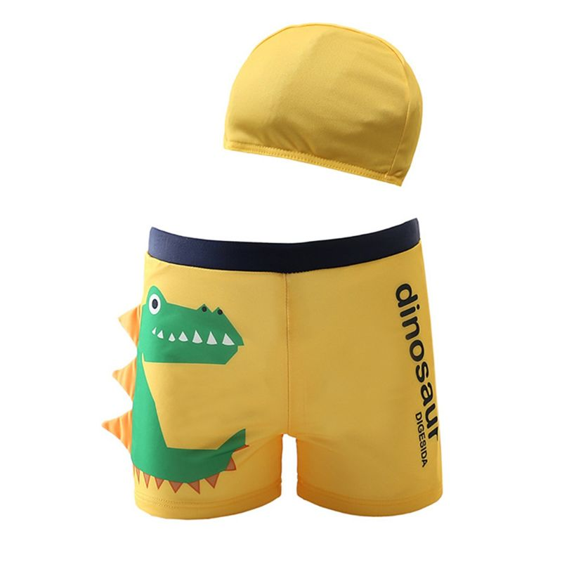 2-Piece Toddler Big Boys Dinosaur Swimming Trunks with Swim Hat
