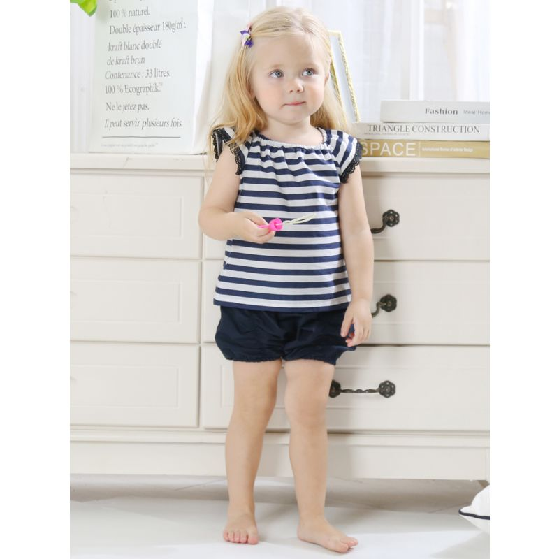 2-Piece Baby Girl Short Flutter Sleeve Stripe T-shirt Top + Frilled Shorts