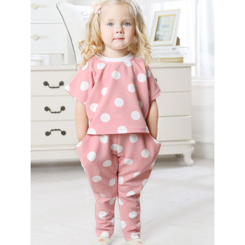 2-Piece Baby Little Girl Summer Polka Dots Clothes Outfits Set Short Sleeved T-shirt + Pants