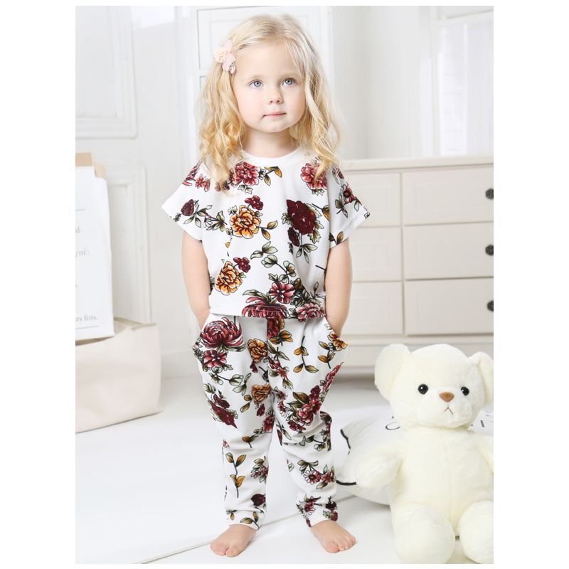 2-Piece Infant Little Girl Summer Flower Clothes Outfits Set Short Sleeved T-shirt + Trousers