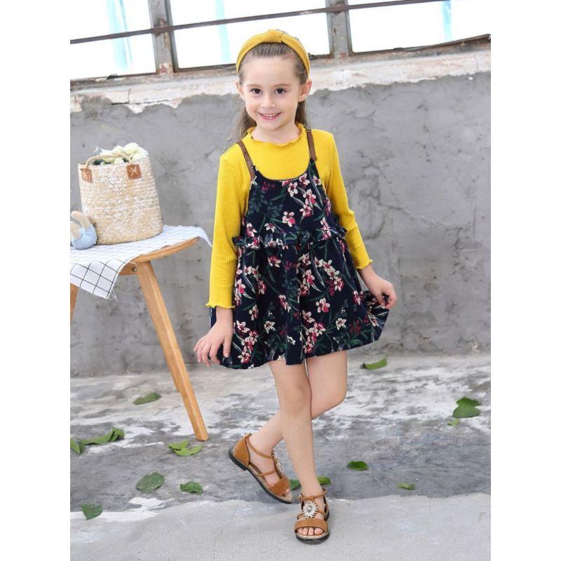 2-Piece Spring Baby Toddler Big Girl Solid Color Long-sleeved Pullover Top + Flower Ruffle Suspender Dress Set