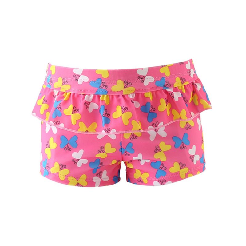 Stylish Baby Toddler Big Girl Frilled Butterfly Print Swimming Trunks