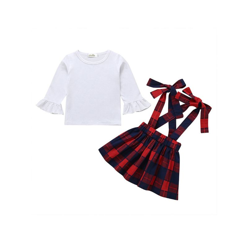 2-Piece Spring Fashion Baby Girl Clothes Outfits Set White Flare Sleeve Top+Checked Pinafore Dress