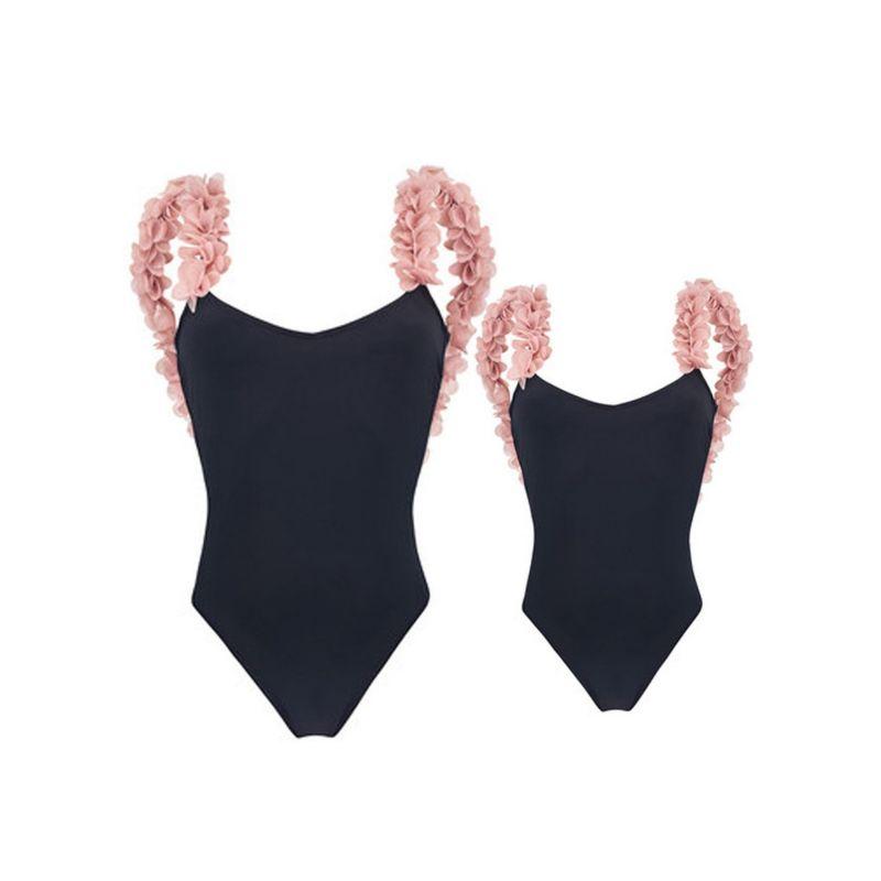 Mom & Me Stylish Flower Trimmed One-piece Swim Suit Swimwear