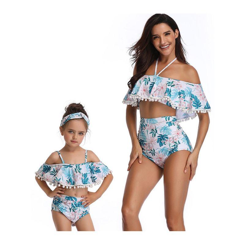 2-Piece Mom & Me Pom Pom Trimmed Printed Tankini Bikini + Shorts