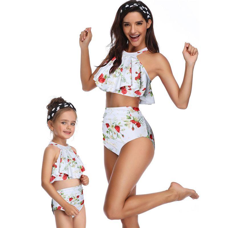 2-Piece Mom & Me Frilled Tankini Bikini + Shorts