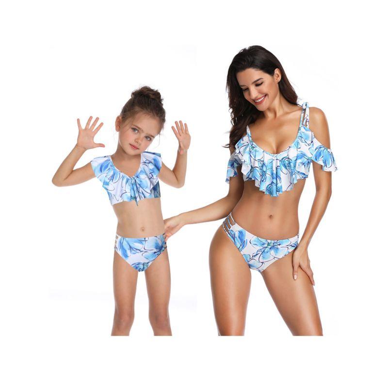2-Piece Mom & Me Blue Flower Print Frilled Tankini Bikini + Shorts