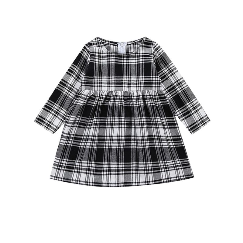 Spring Baby Little Girl White & Black Casual Dress Long-sleeved