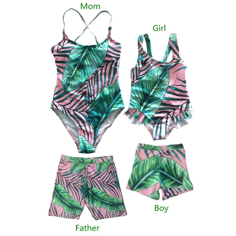Family Matching Leaf Print Swimming Trunks for Father and Son