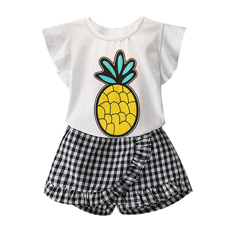 2-Piece Stylish Toddler Little Girl Pineapple Ruffle Sleeve Top + Frilled Plaid Short Pants