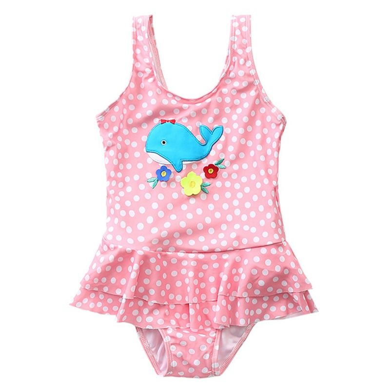 Cute Whale Flower Polka Dots Little Girl Frilled One Piece Swimming Suit