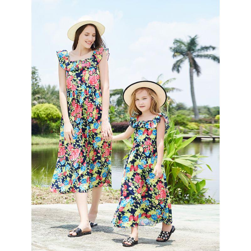 Mom and Me Trendy Flutter Sleeve Floral Dress for Summer