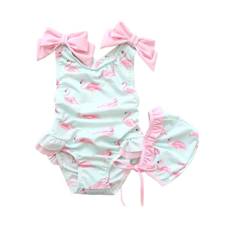 2-Piece Cute Cartoon Flamingo Bow Frilled Baby Girl Swim Suit with Swimming Cap Baby Swimwear