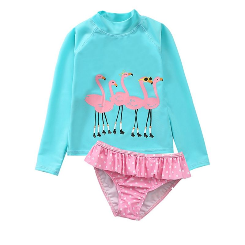 2-Piece Little Girl Sun Protection Swimwear Set Flamingo Long-sleeved Top + Polka Dots Frilled Shorts