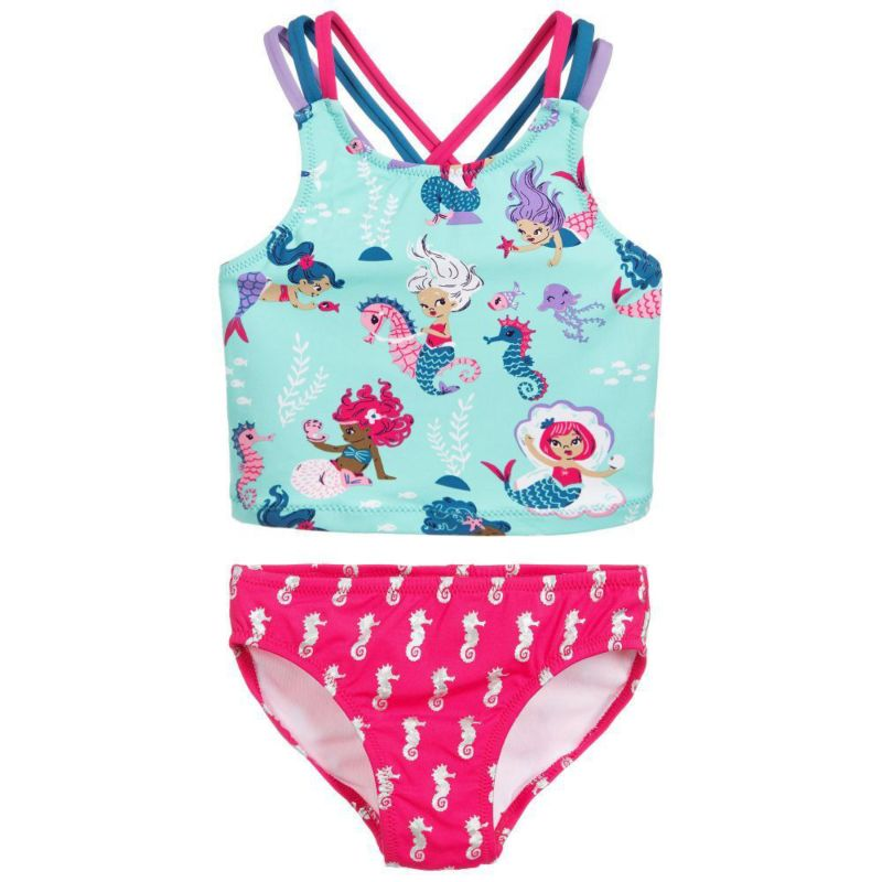 2-Piece Toddler Big Girl Cartoon Swimwear Set Mermaid Top + Sea Horse Swimming Trunks
