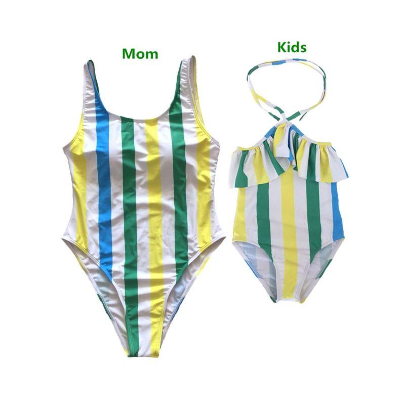 Mom and Me Stripe Color Blocking One Piece Swim Suit