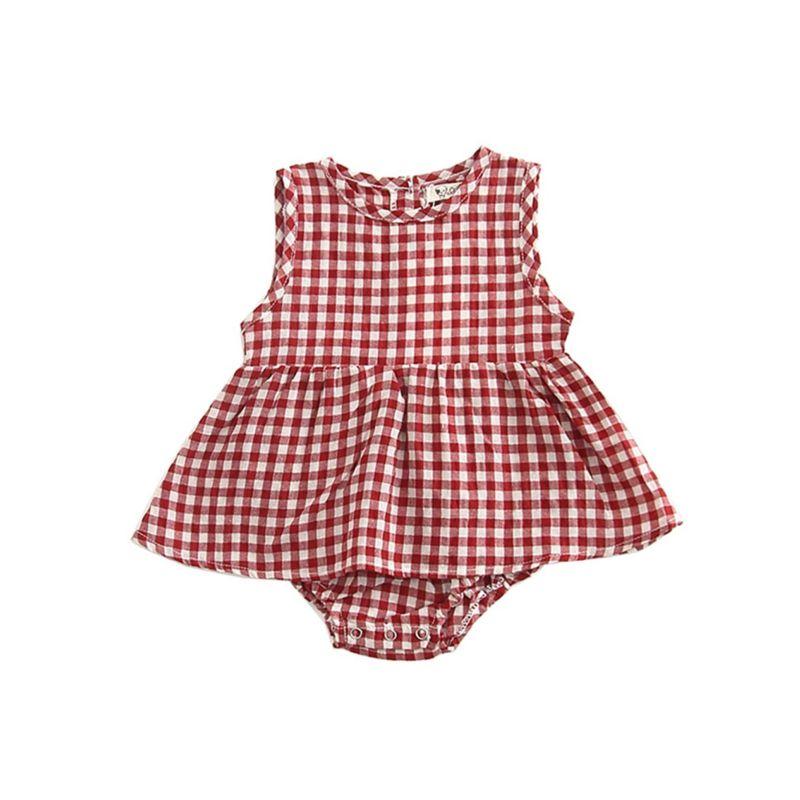 Summer Sleeveless Plaid Baby Romper Dress