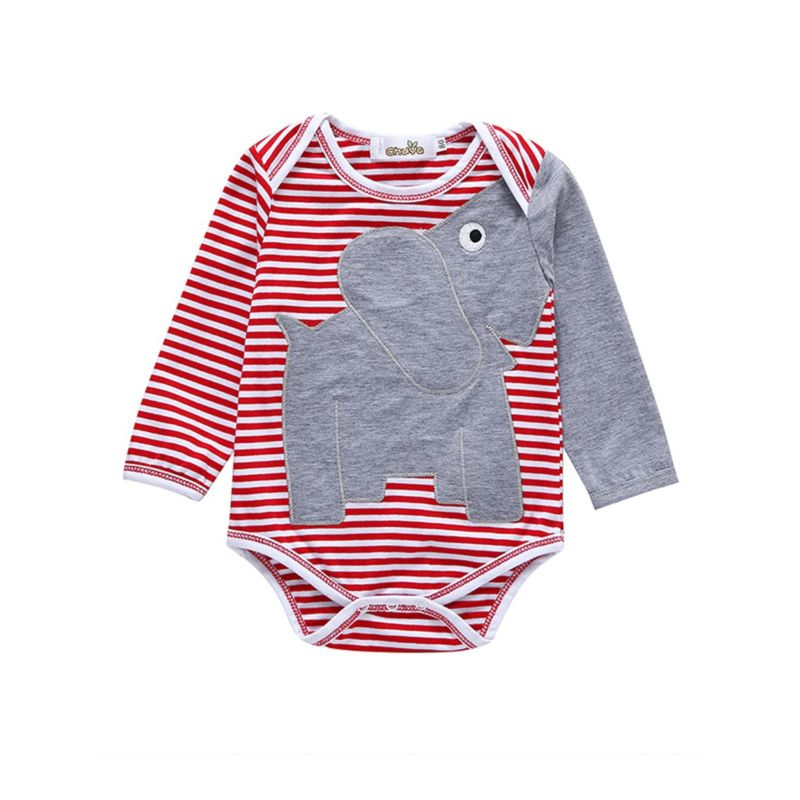 Cute Elephant Stripe Baby Romper Long-sleeved