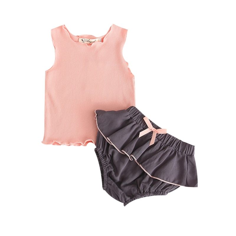 2-Piece Cute Infant Girl Pink Tank Top+Frilled Panties Outfits