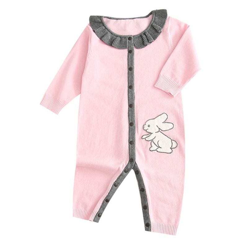 Cute Bunny Frilled Newborn Infant Jumpsuit Overalls