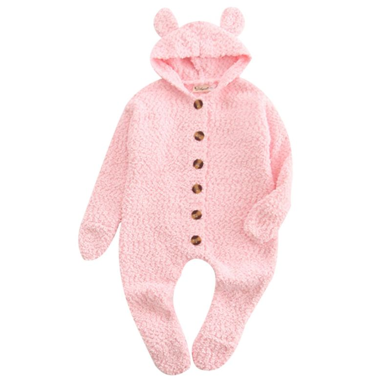 Solid Color Ear Hooded Baby Footed Jumpsuit Overalls Pink/Yellow