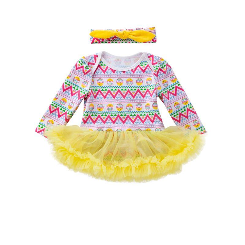 2-Piece Infant Girl Easter Egg Print Mesh Romper Dress+Headband