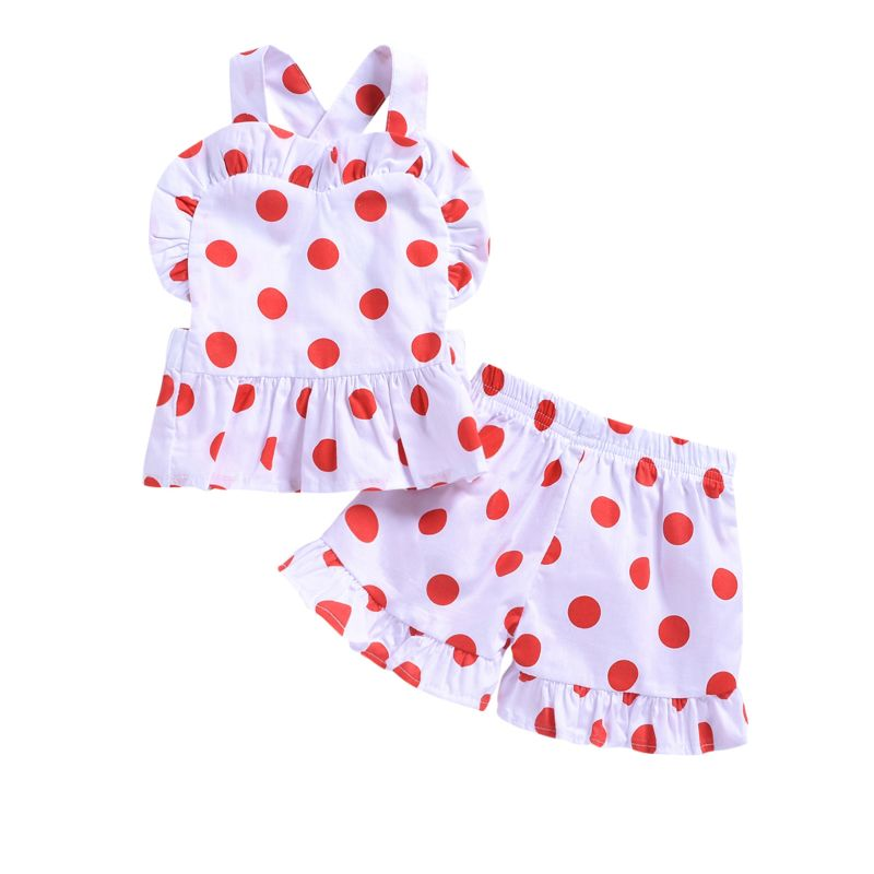 2-Piece Fashion Infant Toddler Girl Black Polka Dots Ruffle Top+Fringe Shorts Outfits