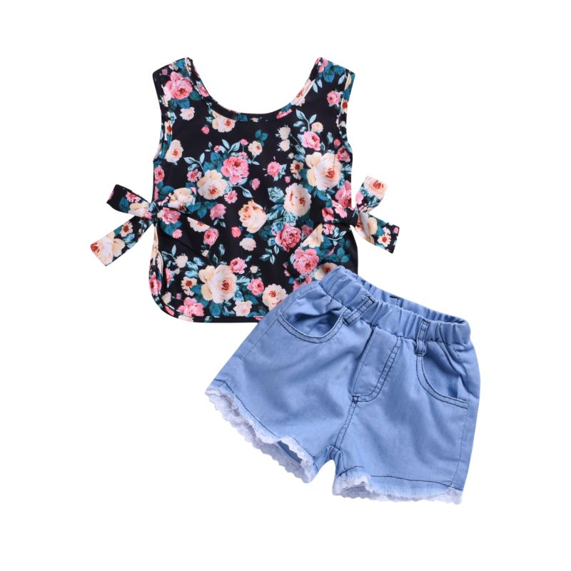2-Piece Summer Infant Little Girl Clothes Outfits Flower Tank Top+ Lace-hem Short Jeans