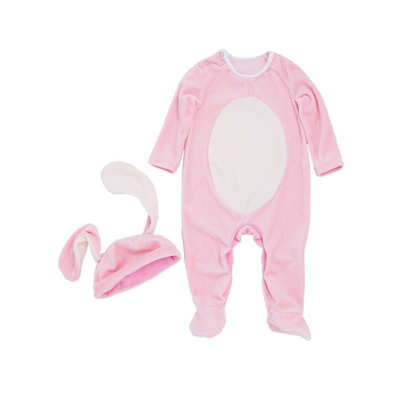 2-Piece Adorable Easter Rabbit Style Baby Footed Jumpsuit with Ear Hat