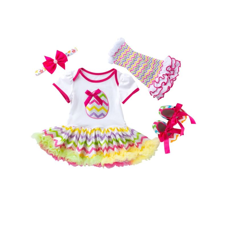 4-Piece Infant Girl Easter Theme Clothing Outfits Easter Egg Print Long Sleeve Romper Dress+Frilled Legwarmers +Shoes +Headband
