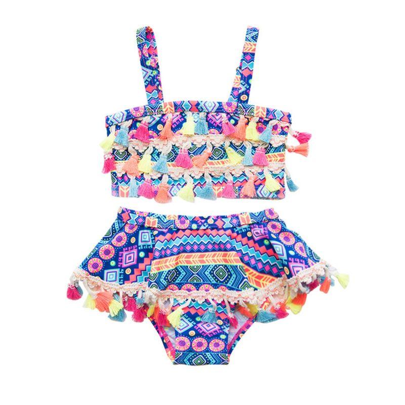 2-Piece Vintage Tassel Trimmed Little Girl Tankini Bikini + Shorts