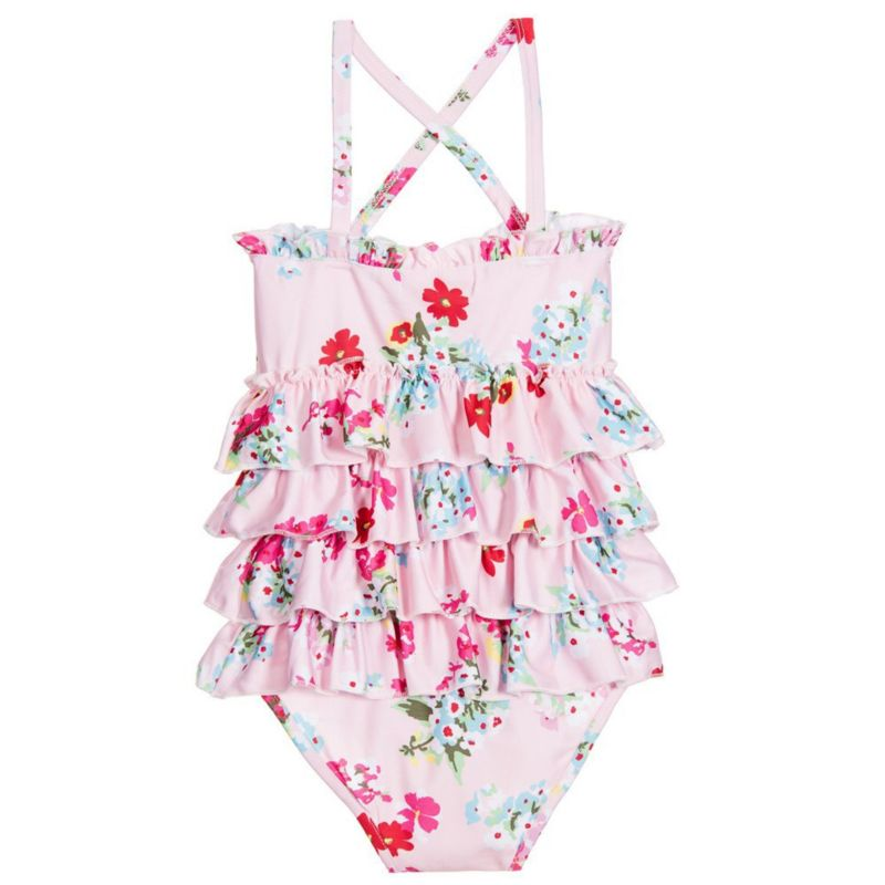 Spanish Style Little Girl Floral  Frilled Cross One Piece Swimsuit