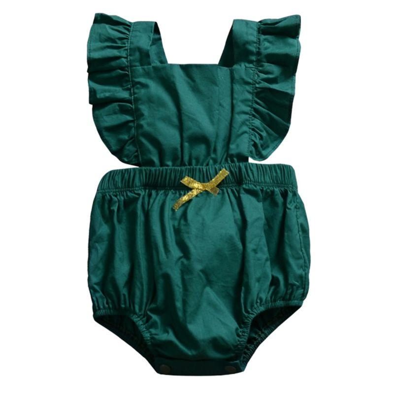 Baby Solid Color Ruffle Bodysuit Romper