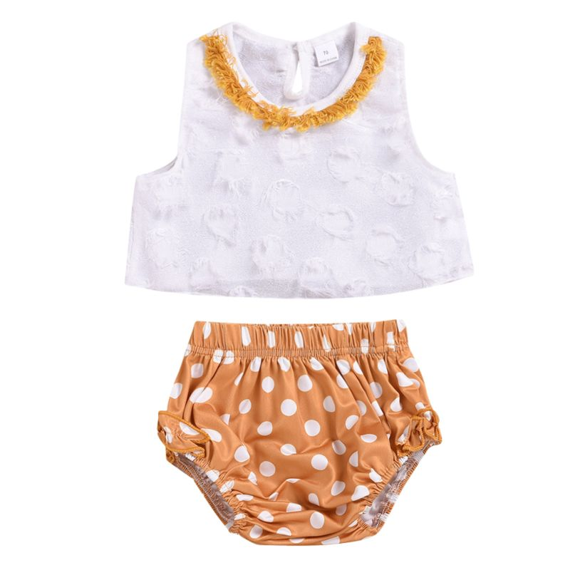2-Piece Stylish Summer Baby Mesh Trimmed White Tank Top+Frilled Polka Dots Shorts