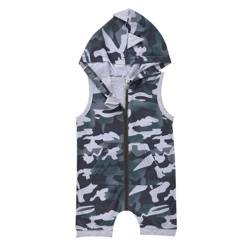 3b2afd7822a Fashion Infant Camouflage Hooded Sleeveless Romper Onesie