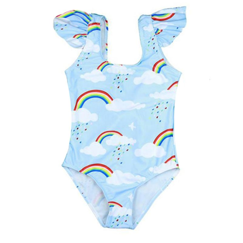 Rainbow Print Big Bow Flutter Sleeve One Piece Swimming Suit
