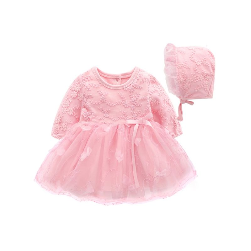 2-Piece Flower Love Heart Trimmed Lace Baby Girl Princess Birthday Mesh Dress with Hat