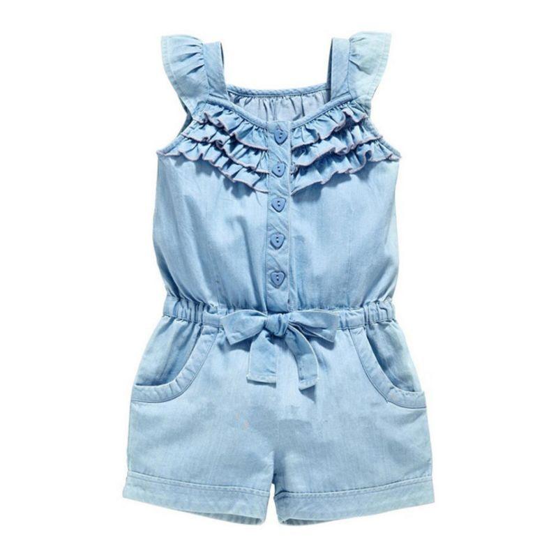 Summer Infant Little Girl Denim Ruffle Jumpsuit