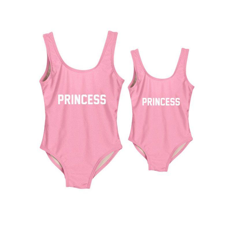 Mommy and Daughter PRINCESS Letters Print One Piece Swimming Suit(Mom Style Un-padded)