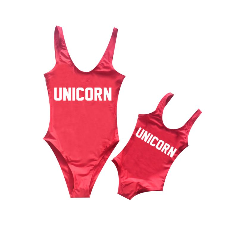 Mommy and Daughter UNICORN Letters Print One Piece Bathing Suit (Mom Style Un-padded)
