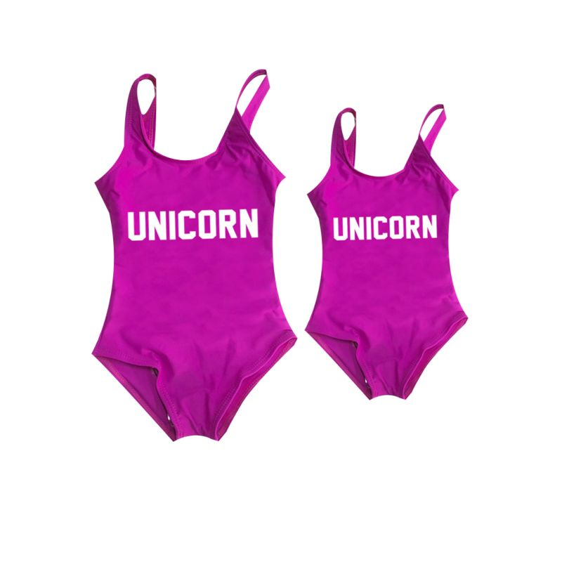 Mommy and Daughter UNICORN Letters Print One Piece Swimming Suit (Mom Style Un-padded)
