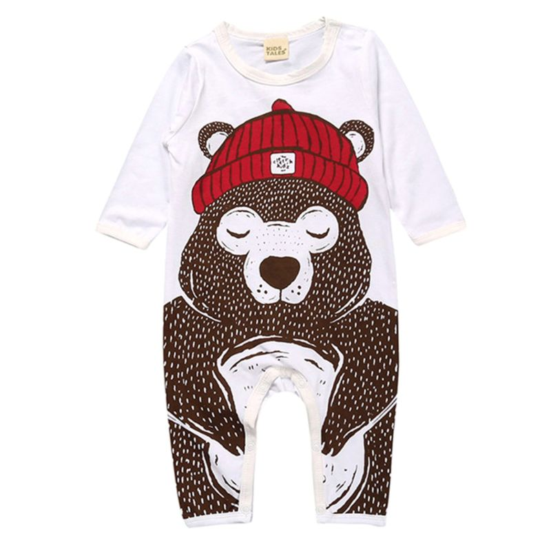 Cartoon Bear/Penguin Pattern Baby Overalls Jumpsuit for Spring